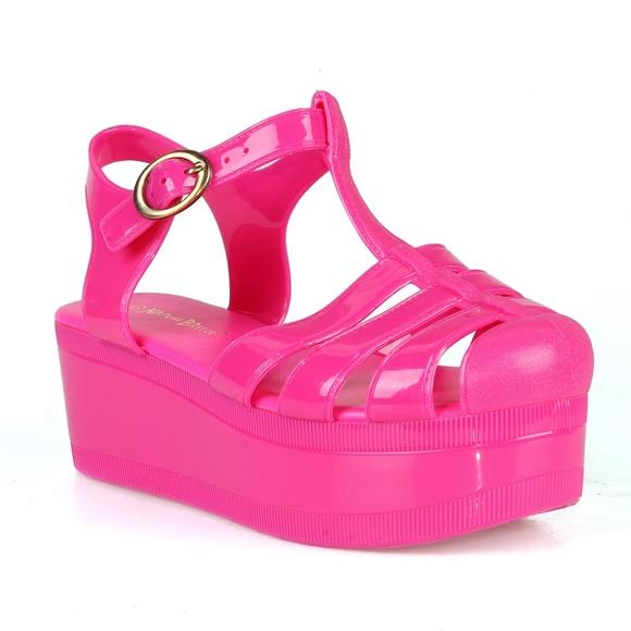 23bb67de76 Nature Breeze Shoes | Disco01 Caged Jelly Platform Womens Sandals ...